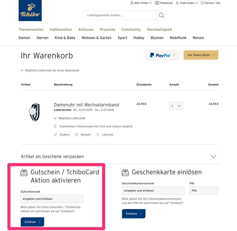 72532f6fafa8e2 Tchibo Gutschein August 2019: 60€ & 10% Gutscheincode